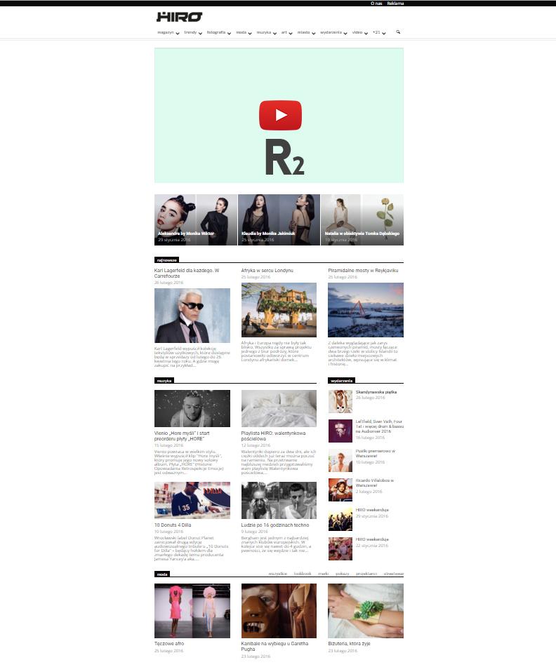 Slider video na stronie głównej