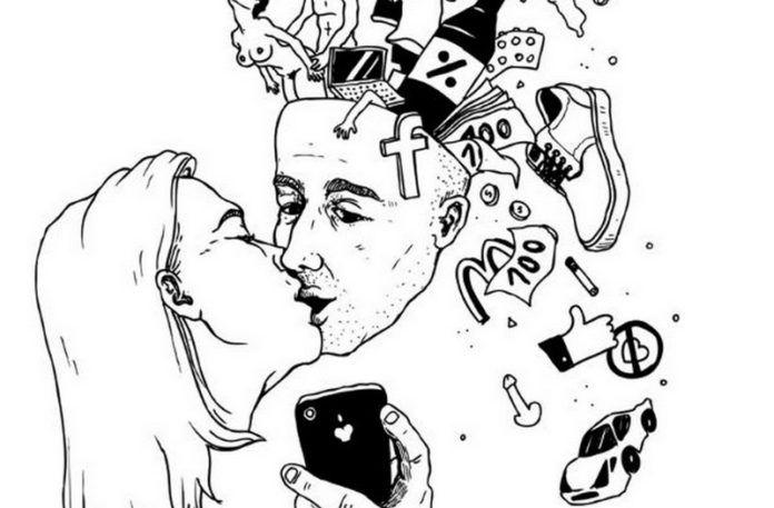 Rysunek całującej się pary