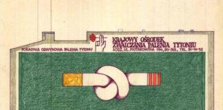 Projekt muralu z papierosem zawiązanym na supeł