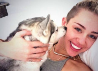 Uśmiechnięta blondynka leżąca z psem, który liże ją po twarzy