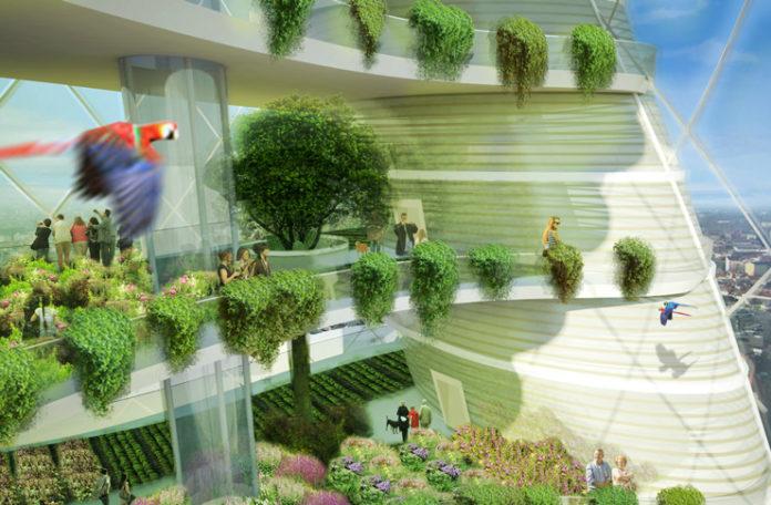 Widok na wierzowiec z balkonami z ogrodem i przelatującą papugą
