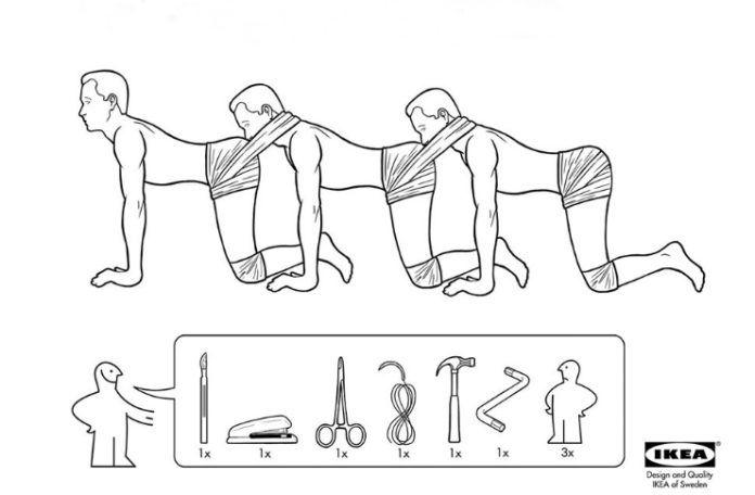 Instrukcja obsługi złożenia Ludzkiej Stonogi stylizowana na instrukcję z IKEA