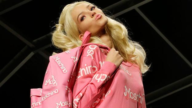 A model wears a creation for Moschino women's Spring Summer 2015 collection, part of the Milan Fashion Week, unveiled in Milan, Italy, Thursday, Sept. 18, 2014. (AP Photo/Antonio Calanni)