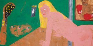 Obraz przedstawajacy nagą kleczącą na czworaka kobietę