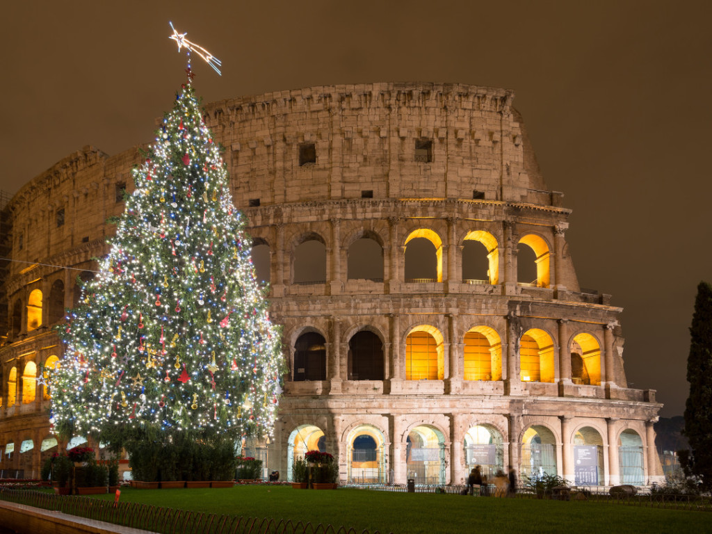 Christmas Tree in Colosseum square, Rome Italy