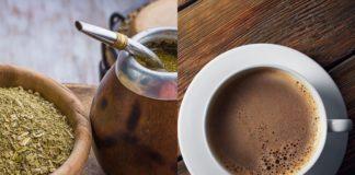 Dwie fotografie - na jednym herbata yerba mate, na drugim kawaw