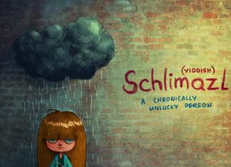 Rysunek dziewczynki nad którą wisi chmura z deszczem