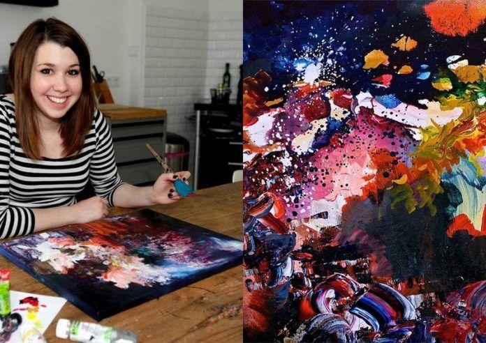 Kobieta malująca obraz, a obok sam obraz