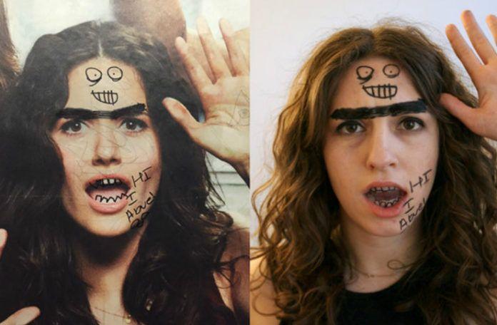 Po lewej stronie reklama z dziewczyną, pomazana przez wandali, po prawej, dziewczyna z pomalowaną w ten sam sposób twarzą