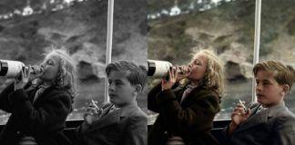 Zdjęcie przedstwiające małą dziewczynkę pijącą z butelki od wina i chłopiec trzymający w ręku papierosa