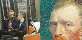 Chłopak wyglądający jak Van Gogh i portret Van Gogha