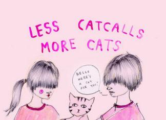 Rysunek przedstawiający dwie dziewczynki i kota
