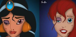 Księżniczki Disneya z pobitymi twarzami