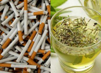 Papierosy, a obok szklanka z zieloną herbatą
