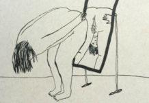 Rysunek kobiety wypinającej się przed lustrem