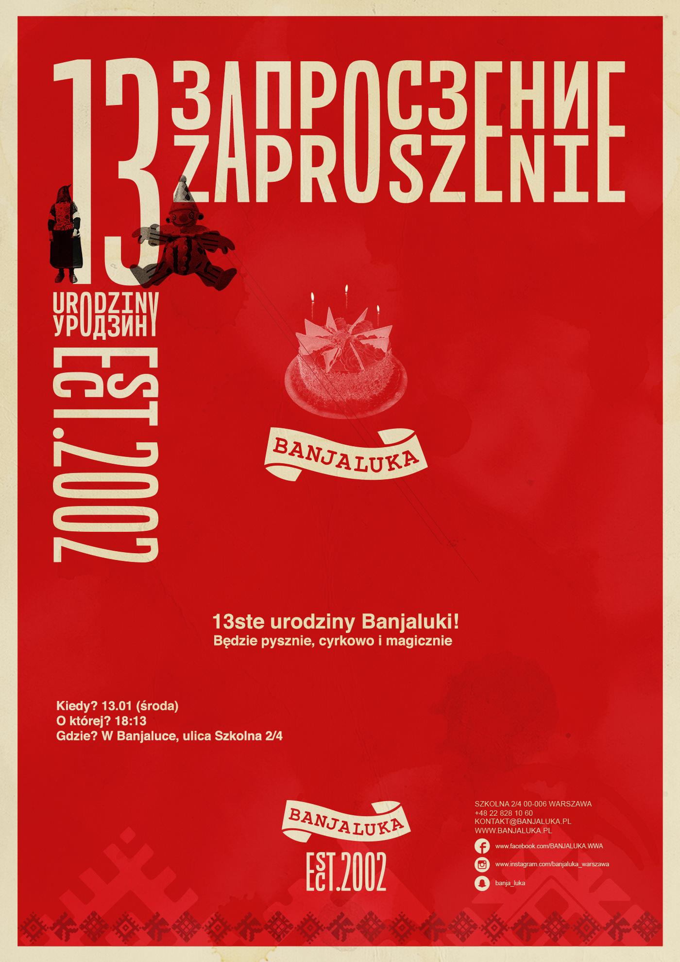 Zaproszenie 13 urodziny Banjaluka
