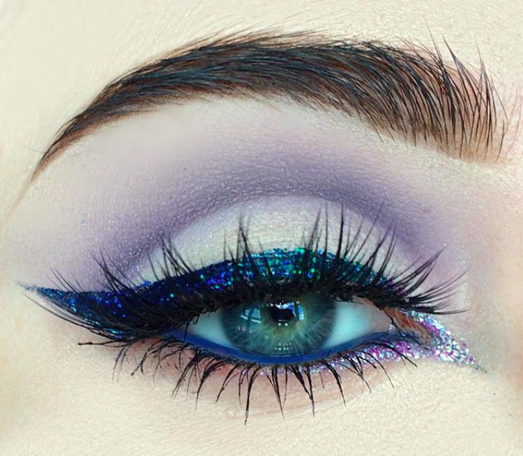niebieski makijaż brokat tumblr