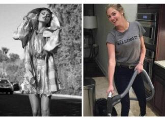 Dwa zdjęcia, po lewej stronie dziewczyna pozujaca do zdjęcia, do prawej, dziewczyna z odkurzaczem