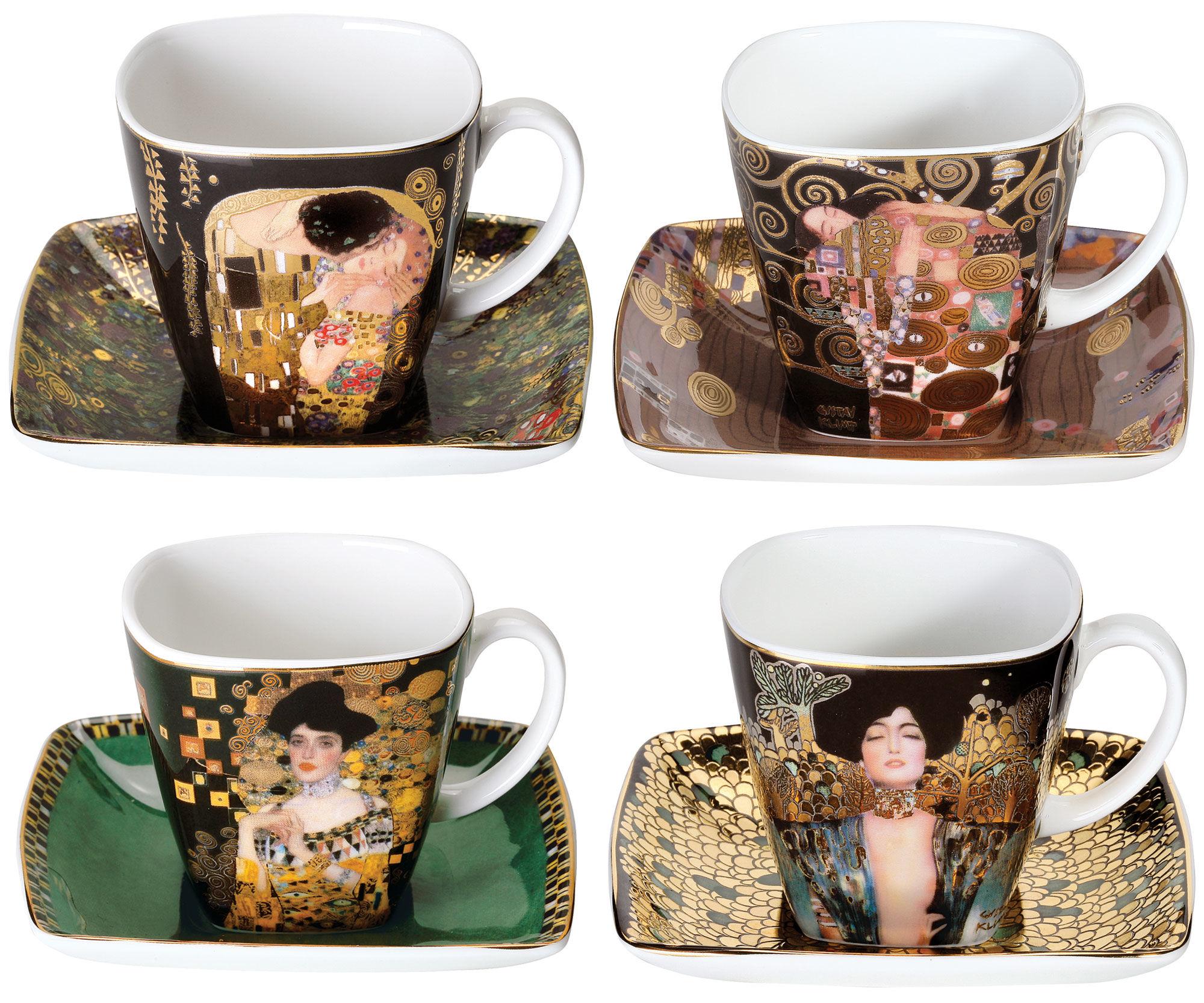 Cztery kubki z reprodukcjami obrazów Gustawa Klimta