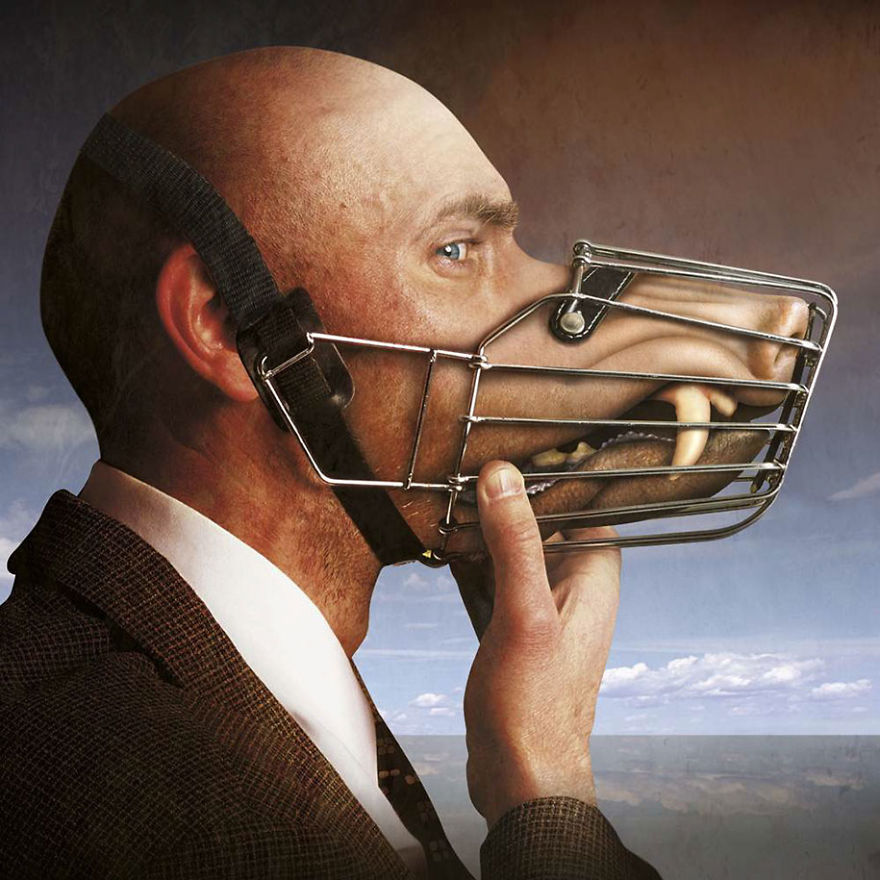 surrealisyczna grafika Igora Morskiego, człowiek w garniturze, zamiast ust ma pysk psa w kagańcu, ostre kły
