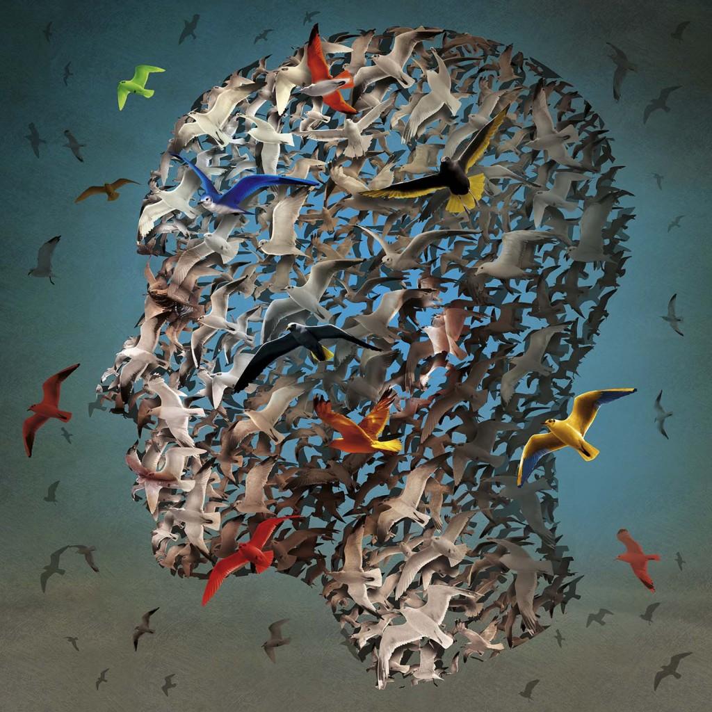 surrealistyczna grafika Igora Morskiego, lecące ptaki układające się w głowę człowieka