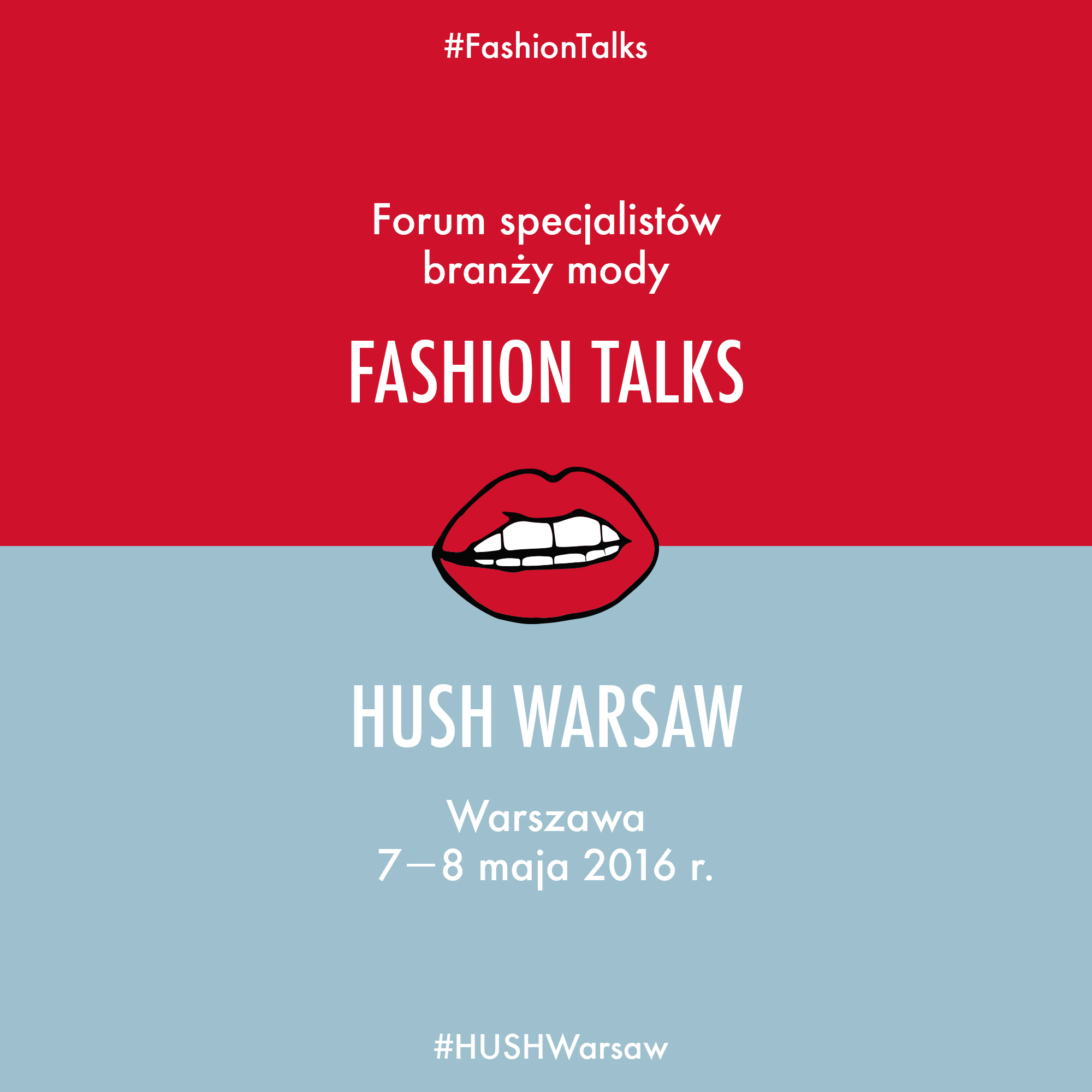 czerwono-niebieski plakat wydarzenia fashion pr talks i hush warsaw
