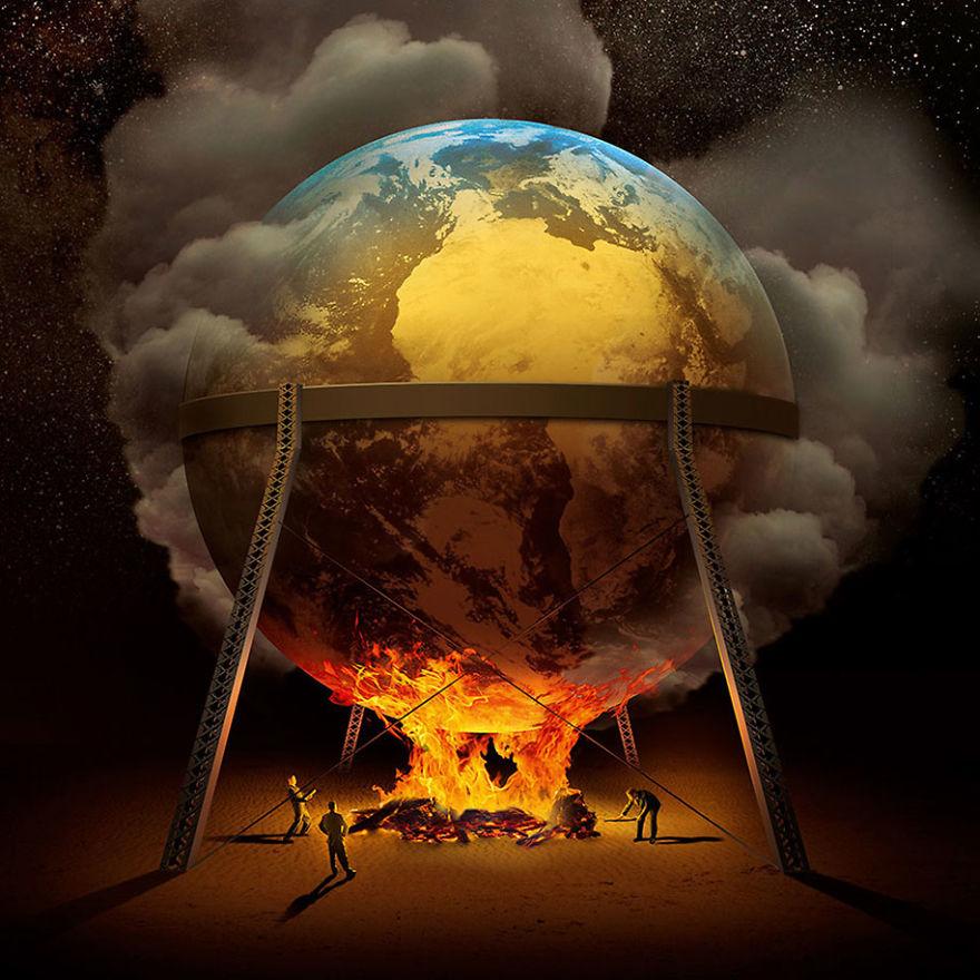 surrealistyczna grafika Igora Morskiego, kula ziemska wisząca nad ogniskiem rozpalanym przez ludzi