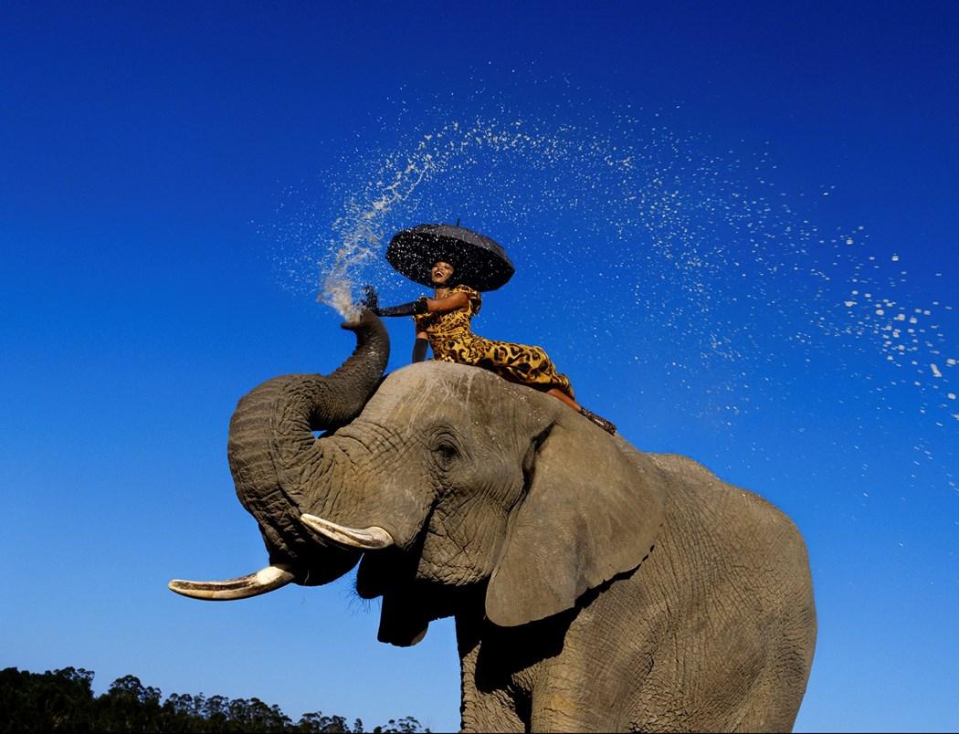 szczesliwa kobieta na grzbiecie slonia