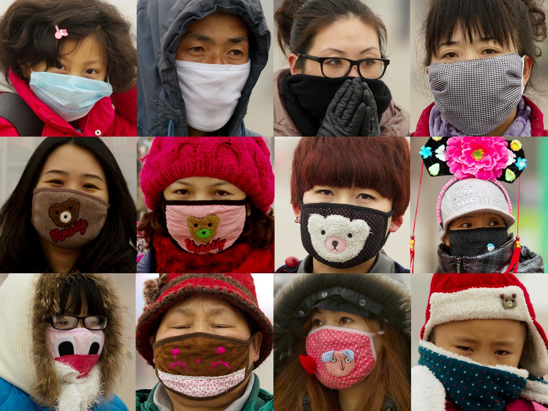 kolorowe maski noszone przez azjatów