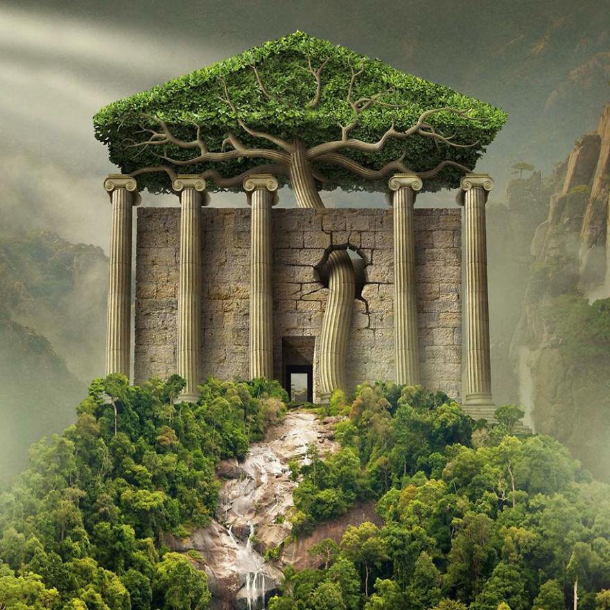 surrealistyczna grafika Igora Morskiego, antyczna budowla otoczona zielenią, drzewami