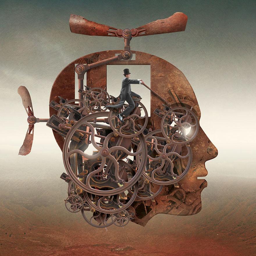 surrealistyczna grafika Igora Morskiego, ludzka głowa jako maszyna latająca, w miejscu mózgu siedzi człowiek sterujący całym mechanizmem