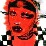 ilustracja kobieta czerwono-czarno-biała