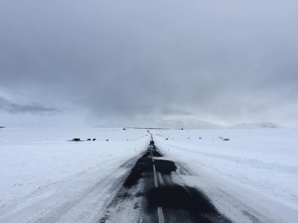 islandzki krajobraz zimą śnieg