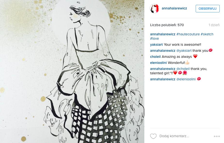 ilustracja modowa pani w eleganckiej sukni
