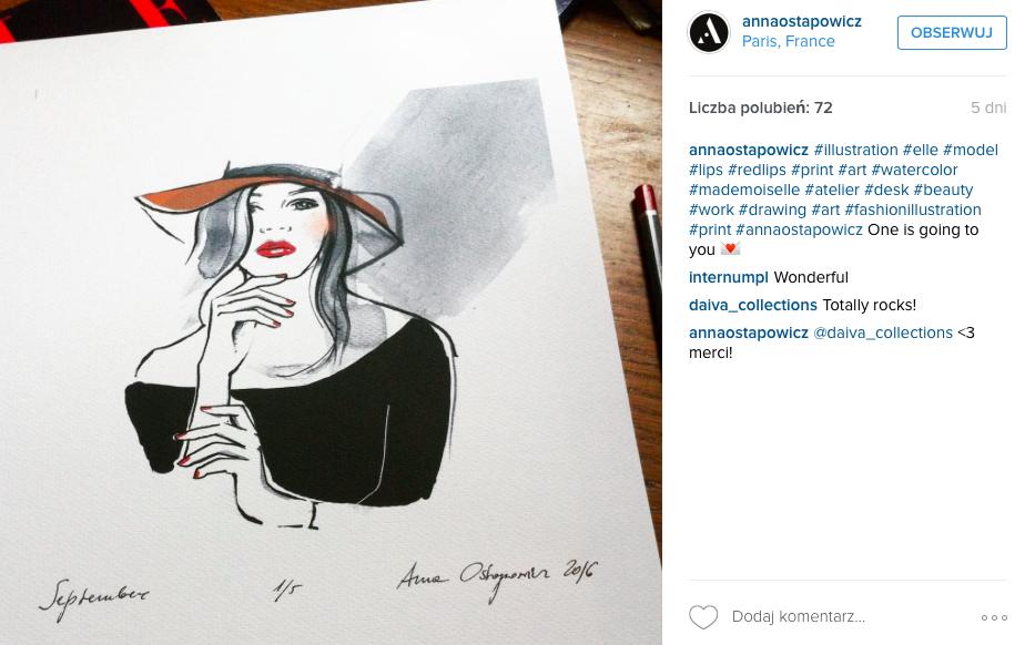 ilustracja modowa pani w kapeluszu