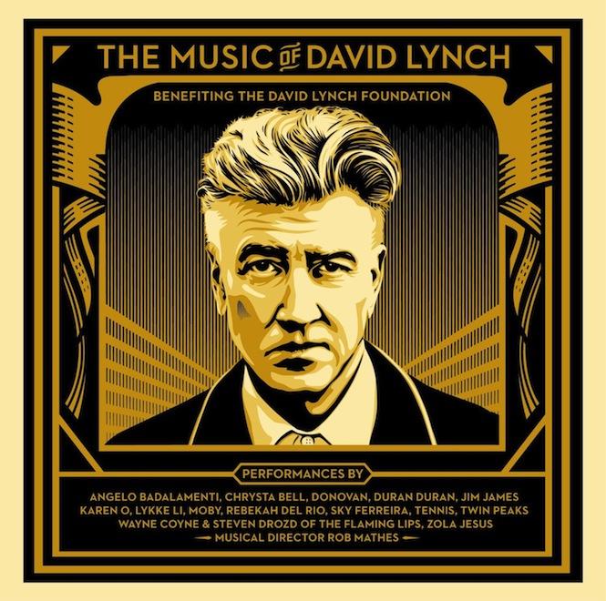 czarno-złota okładka płyty the musiv of david lynch z narysowaną podobizną lyncha oraz spisem wszystkich artystów