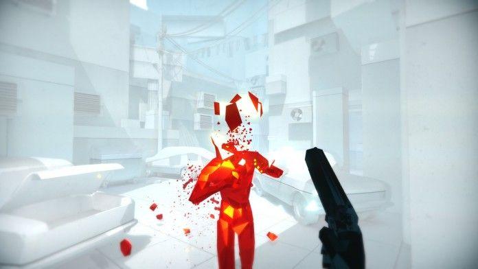 czerwony człowiek i pistolet