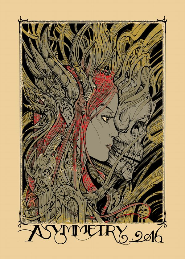 wróżka i czaszka grafika
