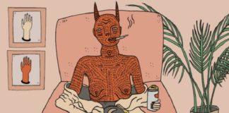 grafika przedstawiająca diabła wychodzącego z kobiety