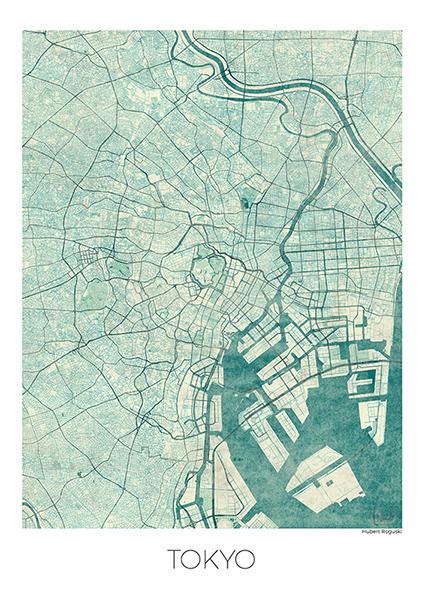 Plakat Tokyo z siatką ulic miasta