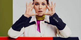 Lena Dunham w wyrazistym makijażu, dużo kolorów