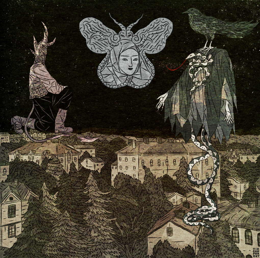 Rysunek miasta i strzyg