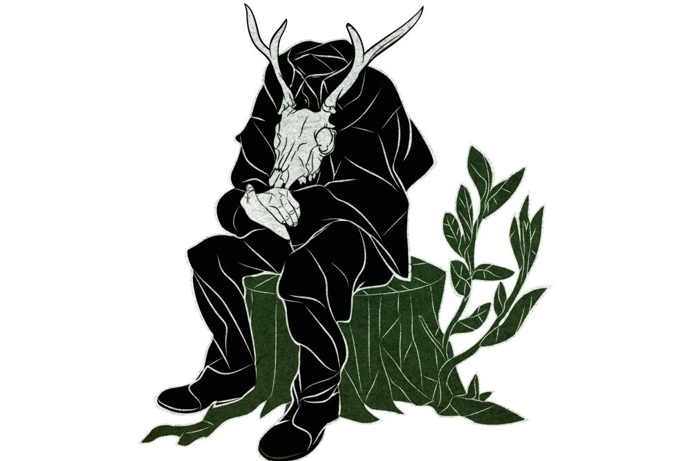Rysunek kozła w czarnej pelerenie siedzącego na zielonym pniu drzewa