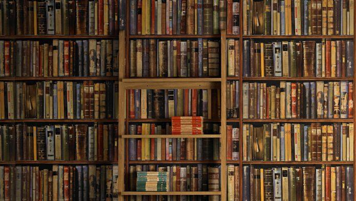 Półka z książkami, która zajmuje całą ścianę