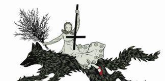 Rysunek dziewczynki na wilku