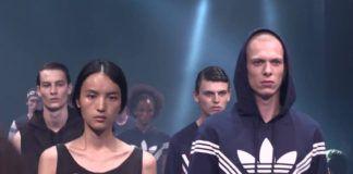 Chińska kobieta i biały mężczyzna w sportowych ubraniach na wybiegu