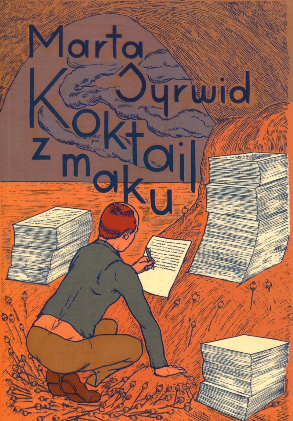 Pomarańczowa okładka książki z obrazkiem człowieka przed stertą dokumentów