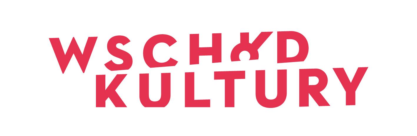 Czerwony napis na bialym tle, logo festiwalu wschód kultury
