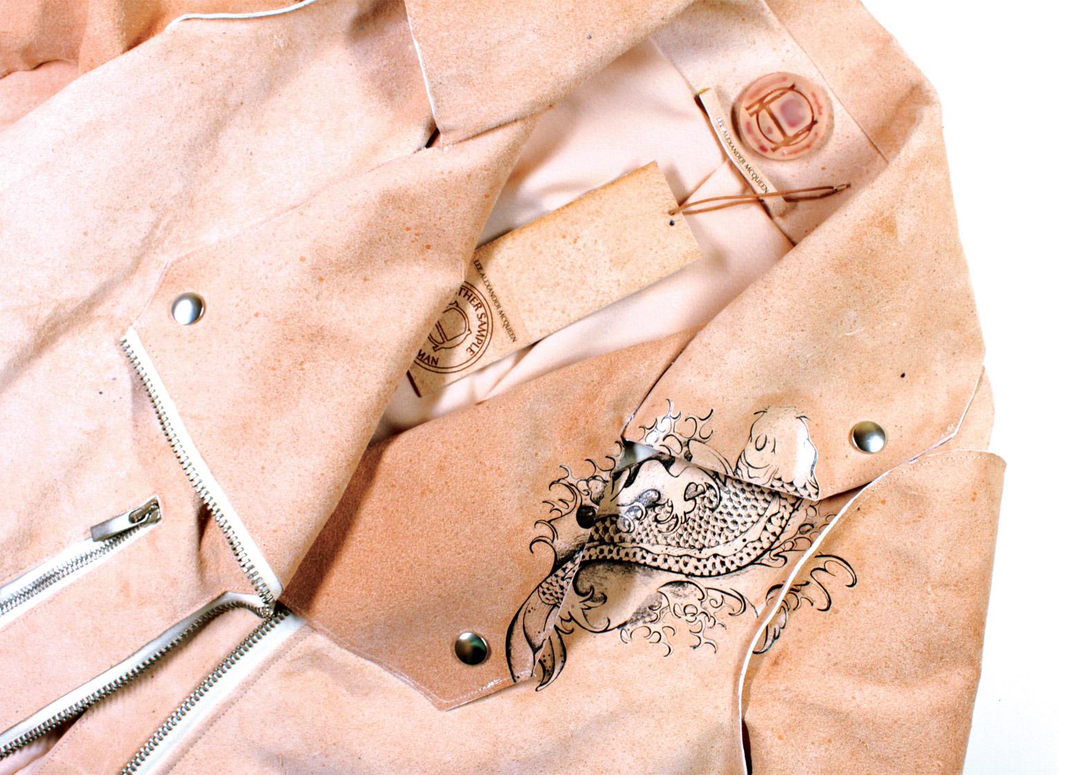 Skórzana kurtka w kolorze nude
