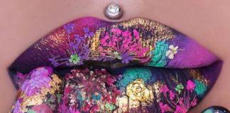 Fioletowo-brokatowe usta
